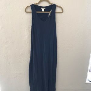 Navy blue maxi dress with slit
